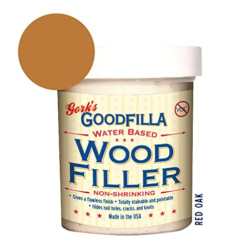 Water-Based Wood & Grain Filler - Red Oak - 8 oz by Goodfilla | Replace Every Filler & Putty | Repairs, Finishes & Patches | Paintable, Stainable, Sandable & Quick Drying
