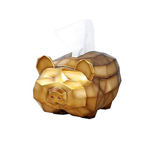 COLiJOL Portapapeles Portapapel Dispensador de Papel de Resina, Origami Geométrico Forma de Cerdo Servilletero Organizador Estuche de Papel Facial (Color: Rosa),Oro