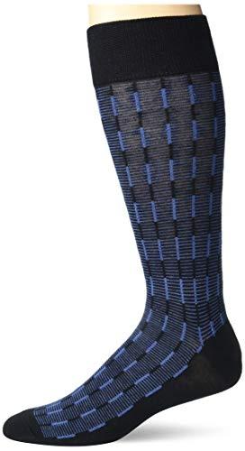 Perry Ellis Calcetines de lujo súper suaves para hombre, Rayas verticales, color azul marino, Pareja soltera