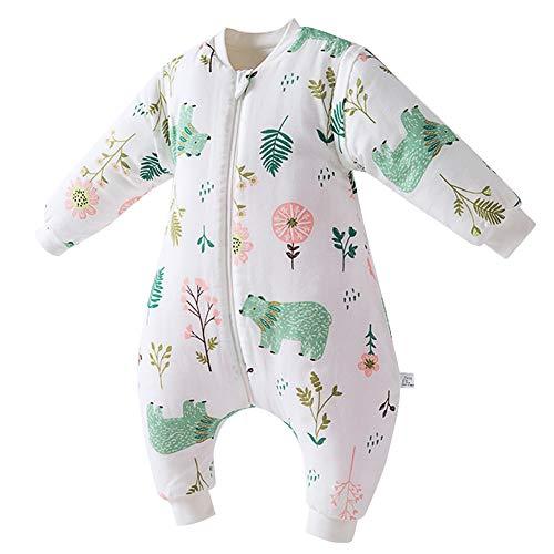 *Happy Cherry Baby Kleinkind Herbst Winter Schlafsack mit Beinen Langarm Baumwolle Kugelschlafsack Wärmeregulierung Strampelsack*