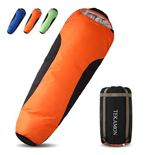 TEKAMON Mumienschlafsack Outdoor, Ultraleicht Schlafsack 3-4 Jahreszeiten, Trekking Camping für Erwachsene (orange/schwarz 210 * 80 * 50cm)