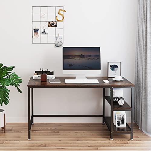 YOLEO Mesa Escritorio de Ordenador, Mesa Despacho con 2 Niveles de Estante, Escritorio de Oficina Estilo Moderno Industrial, Patas Ajustables, Mesa Madera Oficina Casa, 120x60x75cm, Marrón Rústico