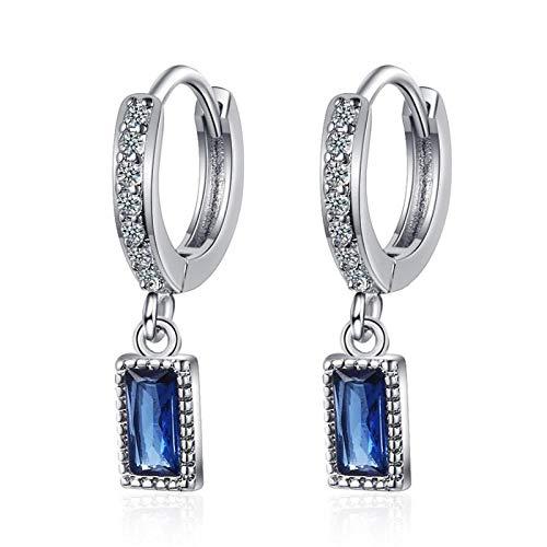 Pendientes Mujer Colgante De Cristal Geométrico Azul Pendientes Colgantes Femeninos De Moda De Plata De Ley 925