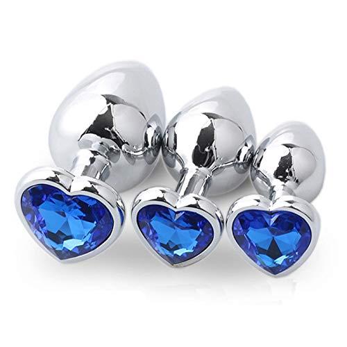 3pcs Luxury Gem Jeweled Design Metal Ànâles Pl'ügs Set Stimülātðr Trainer Kits Bûtt Pl'ugs for Women Men Beginner - Heart Blue Diamond