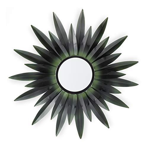 Relaxdays Espejo de Pared con Forma de Sol, Diseño B, Redondo, para Colgar, Metal, 1 Ud, Verde Oscuro, 1Ud, Diseño B