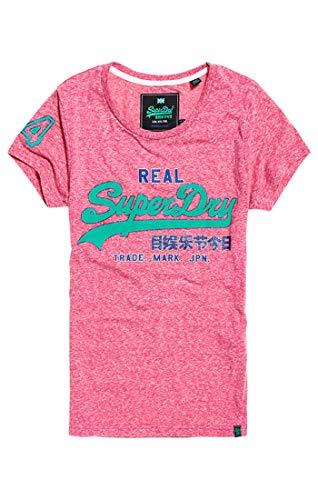 Superdry Damen Vintage Logo Glitter Crack Ent Pullunder, Pink (Hot Rose Snowy Yz9), Medium (Herstellergröße: 12)