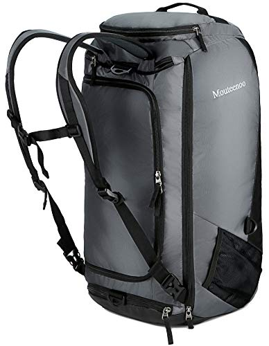 Mouteenoo Travel Duffel Backpack with Shoes Compartment Water Resistant Sports Duffle Gym Bag With Shoulder Straps for Men and Women (Grey/Black, 45L)