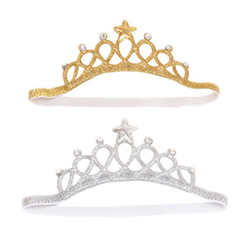 Frcolor Corona principessa per regalo di compleanno per bambina, confezione da 2 (argento e oro)