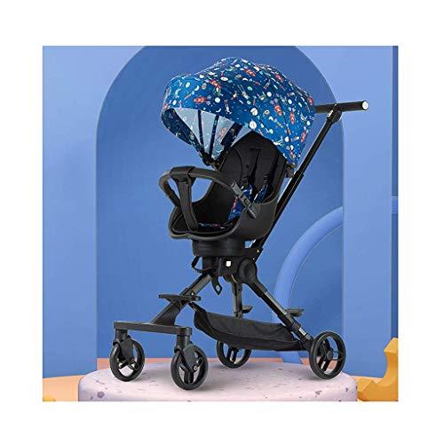 Muñecas Cochecito Cochecito   Cochecito liviano, mamá Carro de bebé Asientos reclinables Fácilmente Plegable + Taza Soporte + Cesta de Almacenamiento Cochecito de bebé (Color: Azul) fengong