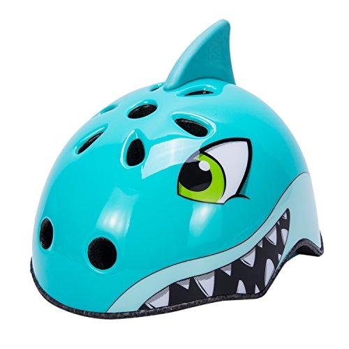 Babimax Casco bici per bambini degli animali sicurezza protezione della testa S 50-54CM per bambini dai 3-6 anni, M 54-58CM per bambini dai 7-13 anni leggero,traspirante,costante (Squalo blu, M)