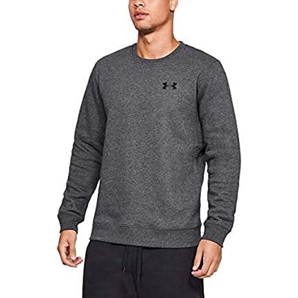 Under Armour Rival Solid Fitted Crew Sudadera, Hombre, Gris (Carbon Heather/Black 090), L