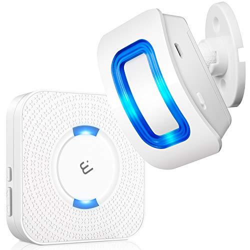 Wireless Motion Sensor Alarm, ELEPOWSTAR Motion Sensor Detect Alert, Motion Detection Doorbell with 58 Chimes & 5 Level Volumes & LED Flash (1 Receiver+1 Motion Sensor)