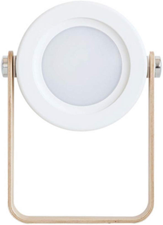 LLAS Tragbare Klappbare Tischlampe LED Nachtlicht Laterne Nachttischlampe Mit Holz-Handgriff 3 Helligkeitsstufen Touch-Bedienung Für Schlafzimmer Wohnzimmer Camping,Weiß