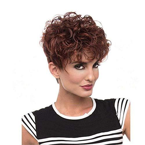 Élégant Court Bouclés Femmes Perruques Mélanger Marron Avec Vague De Vin Rouge Perruques Cheveux Haute Température Fibre Synthétique Cheveux Avec Cap Perruques, 001