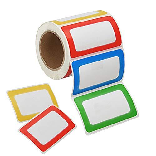 Namensschild Aufkleber 200 Stücke Namen Etiketten Sticker Selbstklebende Bunte Grenz Name Tag Stickers für Schule, Büro, Parteien, Küche, Kinder Kleidung - 89 x 57mm, 4 Farben (Rollen)