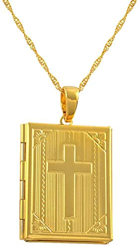 N-G Holy Bible Cross Necklaces For Women/men Gold Color Crucifix Jewelry Crosses(photo Locket) christian Gifts