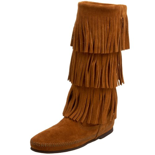 Minnetonka Damen 3-LAYER FRINGE BOOT Mokassin Stiefel, Braun (Brown 2), 37 EU