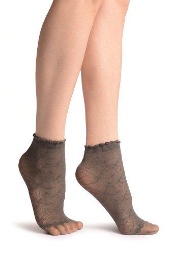 LissKiss Grey Patterned Mesh und Sheer Toes Socks Ankle High - Grau Socken Einheitsgroesse (37-42)