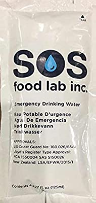 SOS Brand Emergency Water Pouches for Survival, 5 Year Shelf Life, Pack of 62-125 ml Each (1, Single Pack)