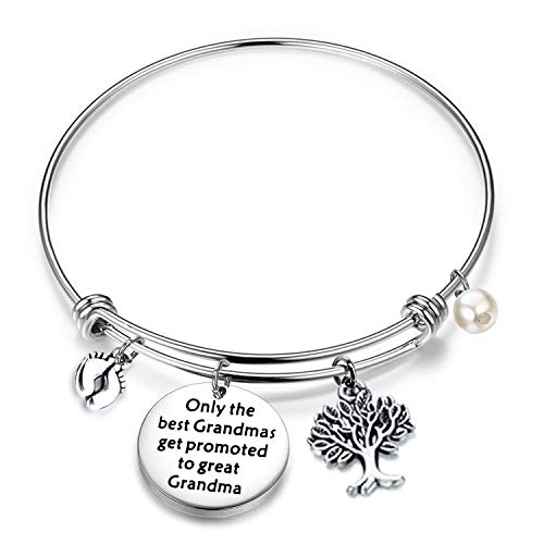 FUSTMW Baby Reveal Gift for Grandma New Grandma Bracelet Only The Best Grandmas Get Promoted to Great Grandma Baby Announcement Gift (Silver)