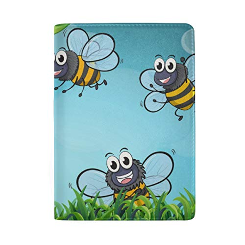 Bees and Beehive Portable Leather Passport Holder Cover Case for Travel Luggage One Pocket