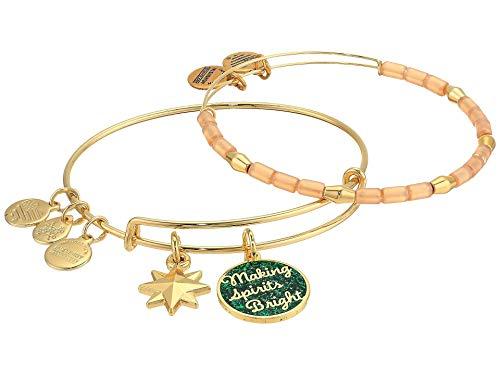 Alex and Ani Words are Powerful, Making Spirits Bright Set of 2 Bangle Bracelet Shiny Gold One Size