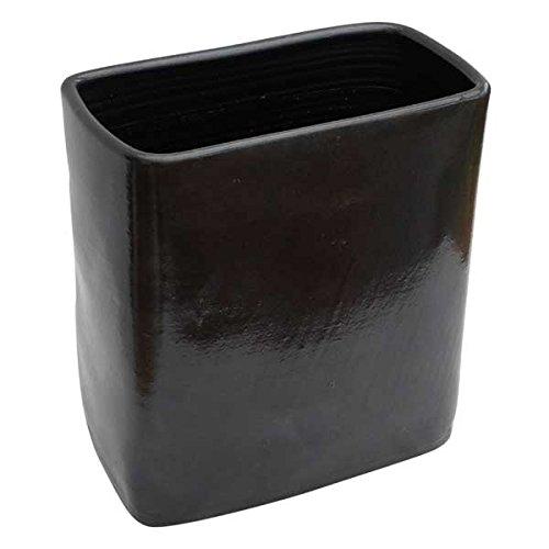 Wohnliebhaber Bodenvase Pflanzkübel schwarz rechteckig Keramik Handarbeit in verschiedenen Größen (32 cm)