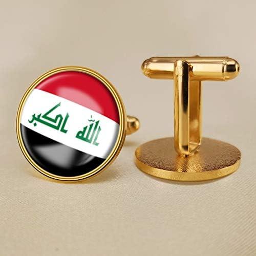 YYOBK Boys' Cuff Links,Men's Cuff Links,Shirt Studs,Sports Fan Cuff Links,Iraqi Flag Cufflinks,Round Cufflinks, Copper 19mm (Color : Gold, Size : 19mm)