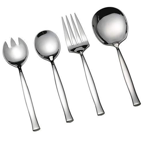 Vareone 1 Tenedor de Ensalada, 1 Cuchara de Ensalada, 1 Cuchara de servir grande, 1 Tenedor de Servir Grande de Acero Inoxidable, 4 Piezas