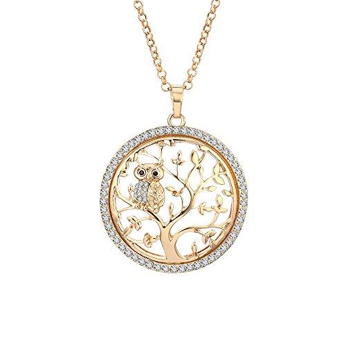Collar de moda para mujer, cadena larga con colgante de árbol de la vida y búho con cristal Placcato Oro