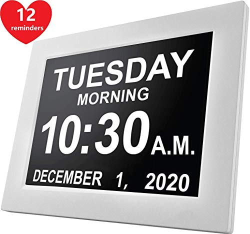 [12 Reminders] Large Day Clock Digital Date Calendar for Memory Loss Elderly Seniors Dementia Sufferers Alzheimers Products Wall Vision Impaired Patients Kids Room (8'' White)