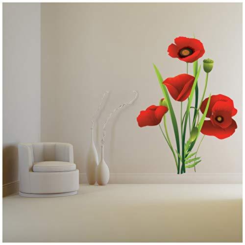 azutura Blumenstrauß rote Mohnblume Blume Wandtattoo Blumen Wand Sticker Wohnzimmer Haus Dekor Erhältlich in 8 Größen XX-Groß Digital