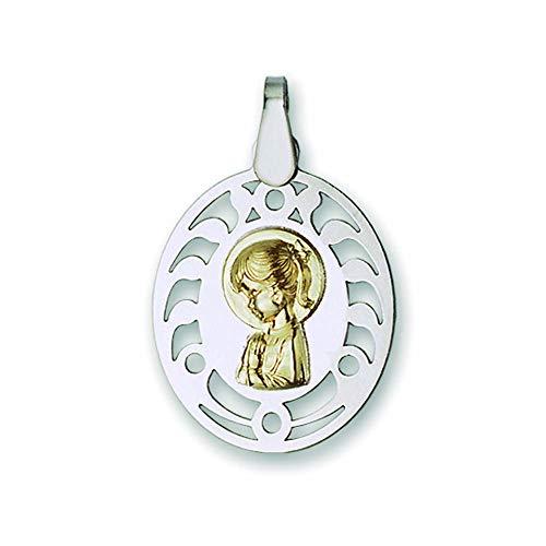 Medalla Religiosa - Medalla Virgen Niña con Coleta 19x23 mm. Oro de 18 k y Plata de Ley 925 milésimas.