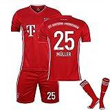 WYIILIN Camiseta de fútbol, 2021 niños Thomas Müller Home Stadium No. 25 Jersey Conjunto con Calcetines para Hombres y Mujeres Jerseys de fútbol Rojo Adulto (Size : 28#)