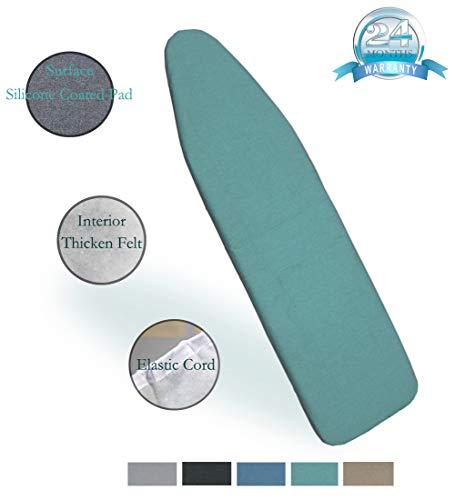 Duwee 137cm x 38cm Hitzebeständige metallische Bügeltischbezug langlebiges Gut verdicken Filz-Material-Standardgrößen-mehrfarbige Wahlen, mit der elastischen Schnur (Green)