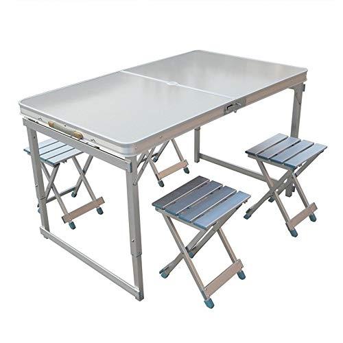 Mesa de comedor portátil de camping ligero 4 sillas Mesa plegable Mesa...
