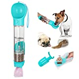 ColorfulLaVie Portable Dog Water Bottle - 500ml Large-Capacity Pet Water Cup with Food Containers,Shovel and Garbage Bags, Suitable for Outdoor Walking,Hiking,Traveling, Food Grade Plastic (Turquoise)