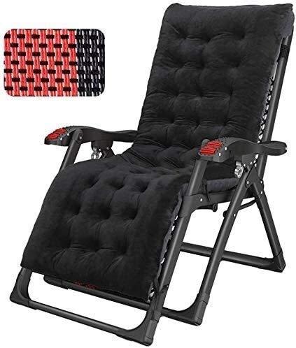 Chaise longue inclinable Office Life pour jardin sans gravité La chaise de plage inclinable de plage inclinable prend en charge 200 kg (couleur: noir sans coussins) (couleur: noir sans coussins)