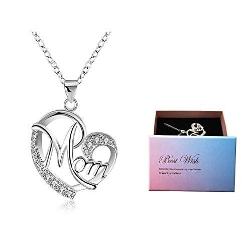 Regali Festa della Mamma, Deesos Collana miglior regalo per il compleanno della mamma cuore diamante collana pendente per la mamma compleanno Argento