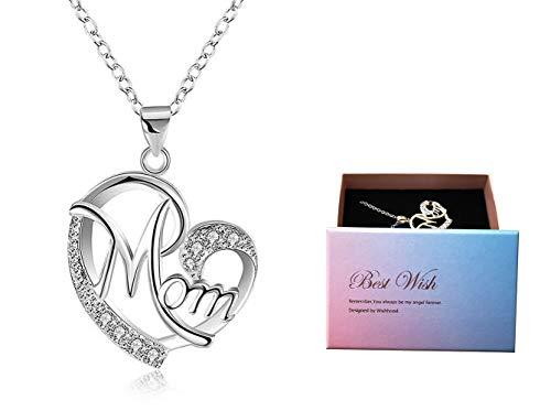 Muttertagsgeschenk, Deesos Halskette das beste Geschenk für Mutters Geburtstag Herz Diamant Anhänger Halskette für Mamas Geburtstag Silber