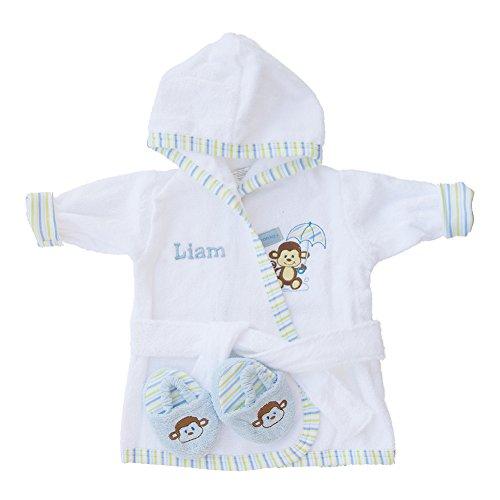 Personalized Monogrammed Monkey Terry Hooded Bath Robe & Slipper Set Sz 0-9 Mo