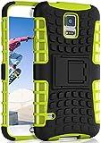 ONEFLOW Tank Hülle kompatibel mit Samsung Galaxy S5 / S5 Neo - Hülle Outdoor stoßfest, Handyhülle mit Ständer, Kamera- & Displayschutz, Handy Hardcase Panzerhülle, Lime - Grün