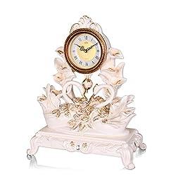 CLOCKZHJI European Retro Mantel/Mantle Rhythm Quartz Clock swan Living Room Desk Shelf Clocks Decoration (Color : Light Yellow)