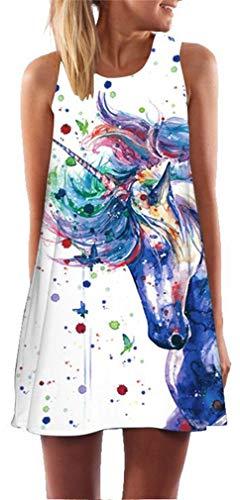 Ocean Plus Mujer Vintage Vestido Sin Mangas Cuello Redondo Vestido de Playa Vestido de Tirantes Camisetas Camisa Corta Vestido de Blusa (XL (EU 40-42), Salpicaduras de Unicornio)