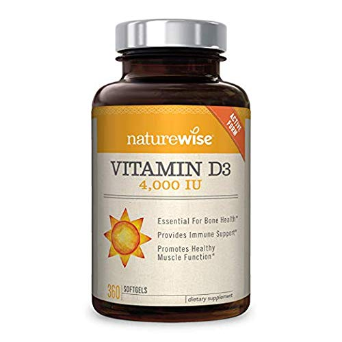 NatureWise Vitamin D3 4,000 IU for Healthy Muscle Function, Bone Health, and Immune Support   Non-GMO and Gluten-Free in Cold-Pressed Organic Olive Oil Capsule [1-Year Supply - 360 Count]