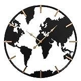 CasaJame Orologio di Design Circolare da Parete con Struttura Metallica a Forma di Mappamondo Nero e Oro Ø 74 cm