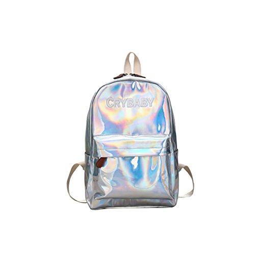 OULII Mode Glänzende Hologramm Laser Reißverschluss Pu-Leder Rucksack Geldbörse Schulranzen Lässig Handtasche für Frauen Mädchen (Silber)