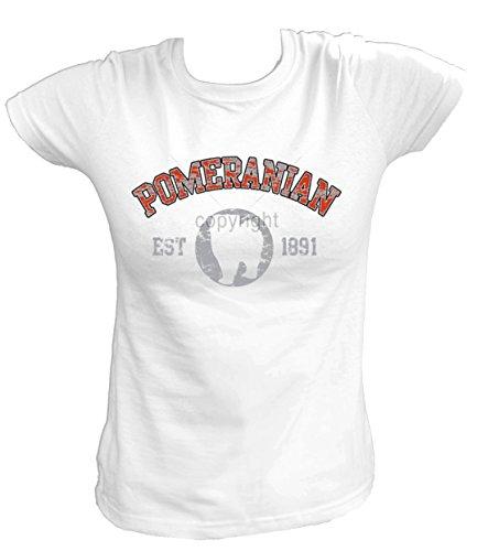 Artdiktat Damen T-Shirt - POMERANIAN Zwergspitz - OLD SCHOOL Est. 1891 Größe S, weiß