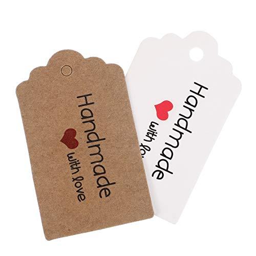 VORCOOL 200Pcs Kraftpapier Handgemachte Tags Handgeschöpftes Papier Tags Papier Hängen Etikett für Home Shop Bar Küche Hochzeit Valentinstag Box Dekoration