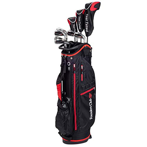 Founders Club Tour Tuned Men's Complete Golf Club Set with Bag Woods, Hybrids, and Irons with Graphite shafts Regular Flex(Regular Graphite, Right)